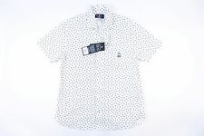 PSYCHO BUNNY ROBERT GODLEY FLORAL WHITE SMALL SHORT SLEEVE BUTTON DOWN SHIRT NWT