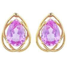 14Kt Gold 4 Ct Pink Sapphire Pear Teardrop Design Stud Earrings