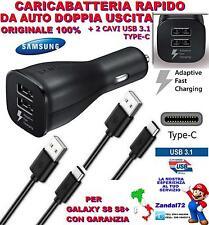 CARICA BATTERIA SAMSUNG S8 RAPIDO DA AUTO DOPPIA USCITA + 2 CAVI USB 3.1 TYPE-C