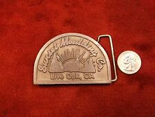 "RARE VTG PEWTER? MENS BELT BUCKLE, ADVERTISING ""SUNSET MOULDING Co"" LIVE OAK, CA"