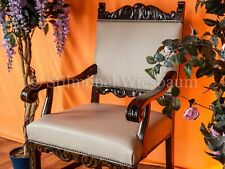 Restaurierter Herrenzimmer-, Büro-Stuhl Nussbaum neuer Lederbezug hell grau
