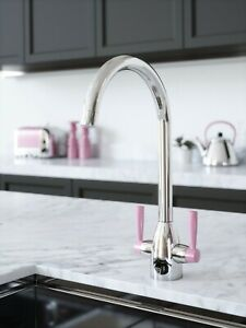 CHROME & PINK KITCHEN TAP WITH WATER FILTER KIT. TFVIBTAP2CP-PINK