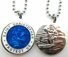Saint Christopher Surf Medal Protector of Travel rb-wh Royal Blue-White Medium
