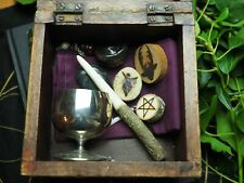 Witches Altar Set in Vintage Box - Wand, Athame, Chalice, Pentagram, Goddess