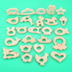 1/3Pcs Baby Teether 25 Pattern Natural Wooden Animals Shape Teether Grasping Toy