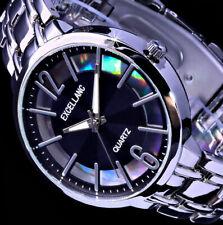 Excellanc Damen Armband Uhr Schwarz Silber Farben Streifen STR-3