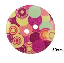 10 Large Wooden Bubble Pattern Pink Hippy Buttons 30mm, Sewing, Craft - BU1128