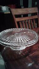 """vintage crystal cake plate leaf design pedestal 12"""" wide x 4"""" tall, antique"""