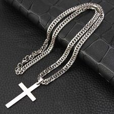 Chain Necklace Cross Pendant Silver Tone Fashion Men Womens Stainless Steel Curb