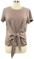 AnyBody Small Taupe Cozy Knit Slub Short Sleeve Tie Front T-Shirt A374517