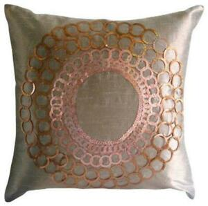 Dark Peach Orange Luxury 16x16 inch Pillow Cover Silk, Sequin - The Rising Sun