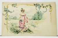 Beautiful Woman Field Scrolls Flowers Art Nouveau c1911 Postcard I18