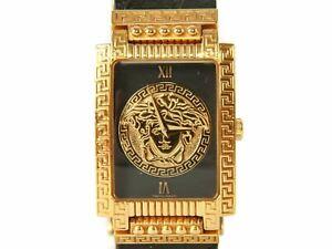 Authentic vintage Mens Gianni Versace medusa Gold plated quartz watch