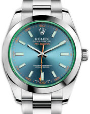 Rolex Milgauss Steel Blue Dial Green Crystal Mens Watch 116400