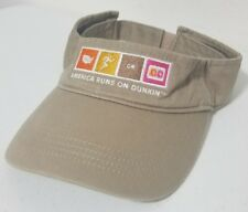 Dunkin' Donuts American Runs On Tan Brown Employee Worker Visor One Size Fit All
