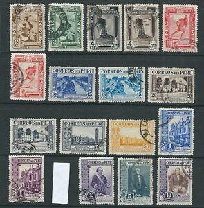 PERU 1936-37 EL CHASQUI, CONDEMARIA, JUNYENT etc (Scott 356-73 short 370) USED