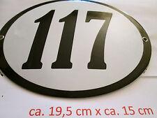 Hausnummer Oval Emaille  schwarze Nr. 117  weißer Hintergrund 19 cm x 15 cm