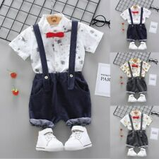 Summer 2Pc Infant Baby Boy Cartoon T-shirt Tops+Strap Pants Suspender Outfit Set