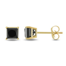 Princess Certified Black Diamond Solitaire Studs-AAA Quality.18k Yellow Gold 1ct