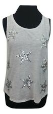 VICTORIA'S SECRET Top Size XS Grey w/Silver Sequins Party Summer Holiday Casual
