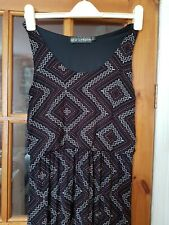 Black Geometric Printed Dress Size 12 Qed London Festival Party