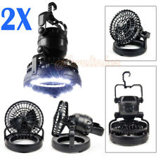 18 LED Camping Fan Light Outdoor Hiking Lantern Weather Resistant Hand Held Hook