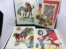 4 Vtg 1950's Golden Press Playskool Frame Tray Puzzles - Horses, Farm Theme