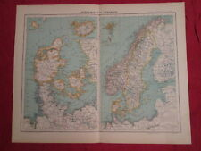 Suede Sweden Norway Denmark Scandinavian Norse Maps Card 1891