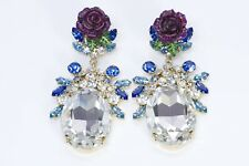 Dolce and Gabbana Runway Blue Crystal Enamel Rose Earrings
