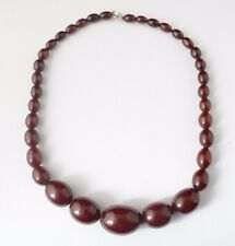 Vintage Antique Cheery Amber Faturan Bakelite Necklace Graduated Beads 33.8g