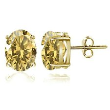 Gold Tone over Sterling Silver Citrine 8x6mm Oval Stud Earrings
