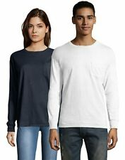 Hanes T Shirt Long Sleeve Adult Pocket Tee ComfortWash Garment Dyed Womens Mens