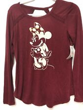 Disney Minnie Mouse Cut Out Keyhole Back T-Shirt Medium 7-9  Long Sleeves U Hem