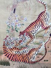 Très Belle Broderie Ancienne Sur Soie Silk XIXe Chine 147x 75cm Tigre