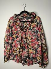 NWOT LOVE MOSCHINO Floral Skull Blouse Long Sleeve Button Front Ruffle US 12