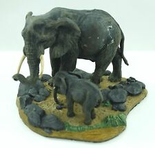 Wildlife Elephant Mother and Baby Painted Sculpture Figurine
