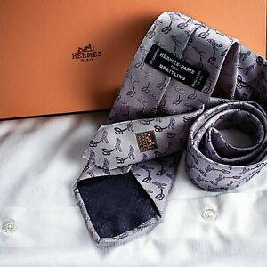 """HERMES PARIS  """"Made in France"""" [NEW] Pink Lavender with Paisley Tie"""