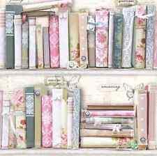 Pastel Bookcase Shabby Chic Wallpaper Vtg White Library French Feminine Pink