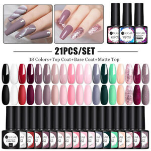 21 Bottles UR SUGAR UV Gel Polish Starter Kit Soak Off Base Top Coat Matte Set
