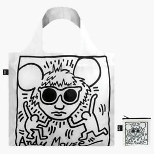 """LOQI Reusable Shopping Tote Bag """"Andy Mouse"""", Beach Travel Canvas Shoulder bag"""