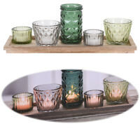 Holz Kerzen-Tablett Set 5 Gläser Multi Teelicht-Halter Windlichter Deko-Ständer