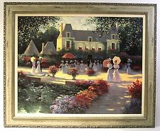 Luncheon in the Country by Christa Kieffer s/n AP framed canvas landscape