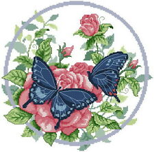 Free shipping needlework 14 counted aida flower cross stitch butterfly kit H016