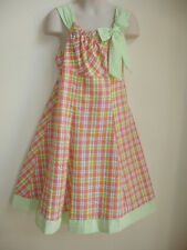BONNIE JEAN GIRLS PAGEANT DRESS size 6X PINK GREEN WHITE CHECKERED BEAUTIFUL