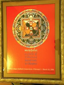 Framed Tibetan Sand Mandala poster, Trinity College 1994