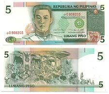 PHILIPPINES Limang 5P P180 Marcos-Laya Replacement Star Note RED Serial # UNC