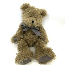 """Vtg Boyds Collection Bear 18"""" Teddy w Plaid Bow Trim Boy Jointed Brown 90s 1997"""