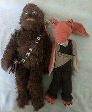 "Star Wars Applause Jar Jar Binks Plush 12"" + Disney Store Chewbacca Chewie 17"""