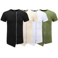 Hip Hop Long Extended Cotton T-Shirt Zipper Side irregular Men tops  Man Summer