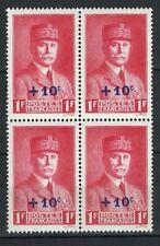 France Stamps   1941   Pétain Surcharge #500   MNH OG   Block of 4